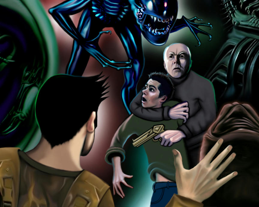 action scene with Derek calling out to Stiles who Gerard has in a headlock, while the Alien looms up behind him