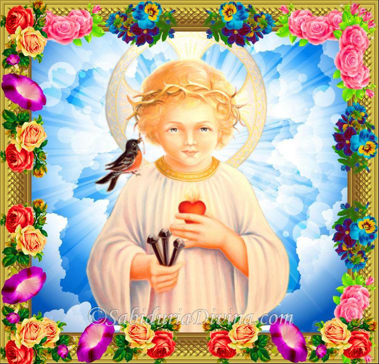 Jesus Niño con los instrumentos de su Sagrada Pasion. Jesus child