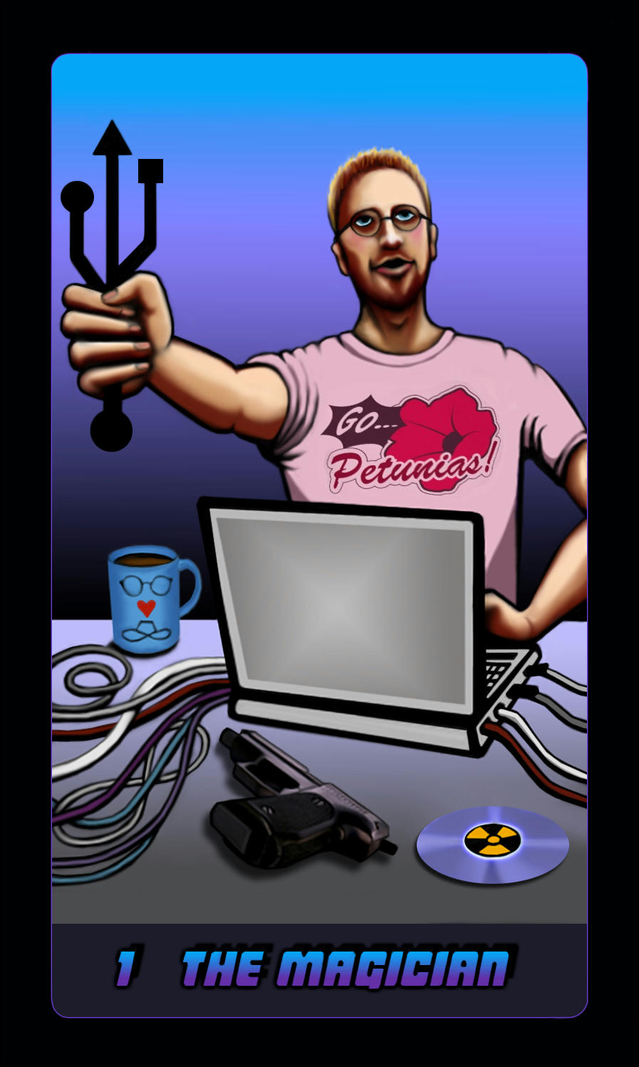 Jensen with USB hub as wand, laptop, Petunias T