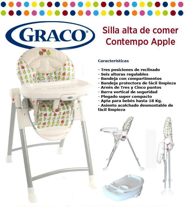 Silla bebe comer alta graco contempo apple open toys for Silla mecedora graco 6 velocidades