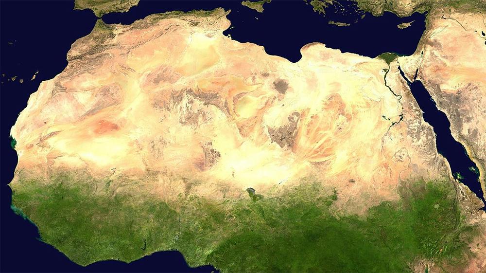 Satellite view of the Sahara