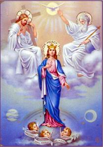 La Virgen Maria Coronada como Reina por la Santisima Trinidad
