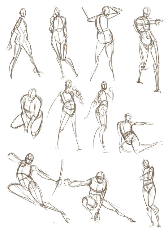 Scribble Line Gesture Drawing : Gesture drawing critique line of action