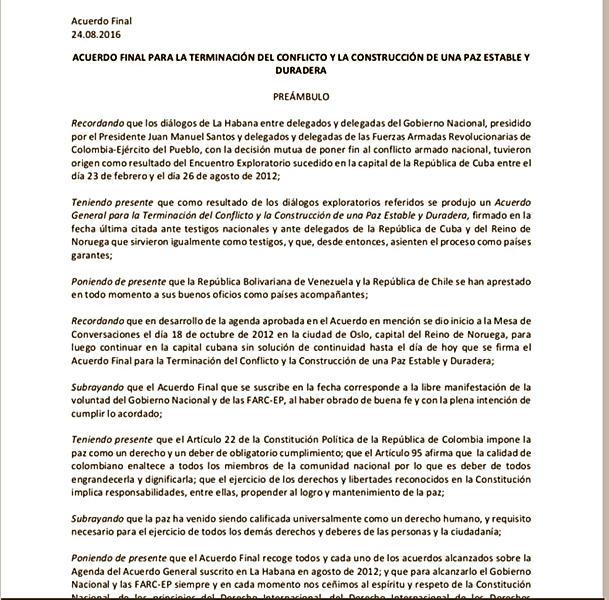 Vea aquí cuales son los acuerdos entre el gobierno colombiano y las FARC, y tome la decisión en el plebiscito (Formato PDF)