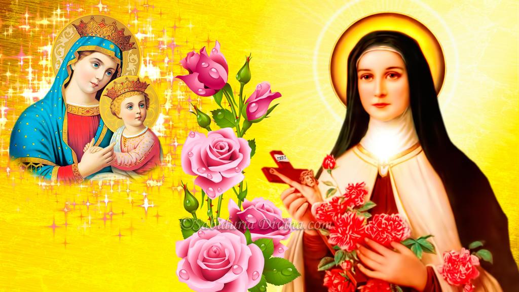 Santa Teresita del Niño Jesus y la Virgen Maria