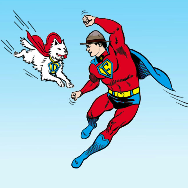 Fraser flying in superman costume with flying Dief, caped.