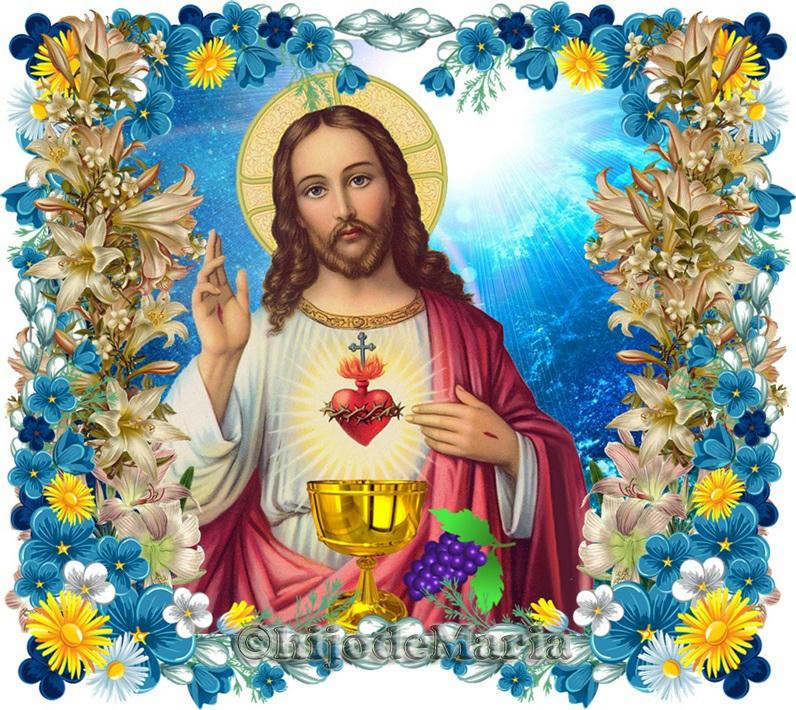Sagrado Corazon de Jesus con Caliz y uvas
