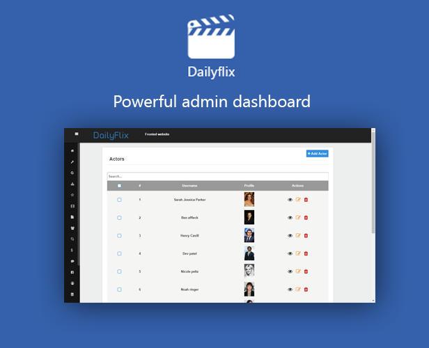Dailyflix - powerful admin dashboard