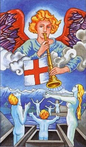 Angeles tocando sus trompetas para el Jucio final. Resurrección de los muertos - divider12