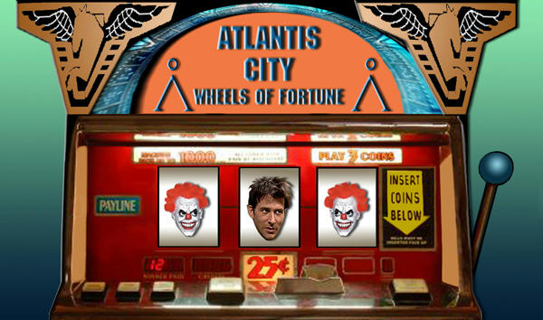 Old slot machine, John glowering at two evil clown faces beside him.