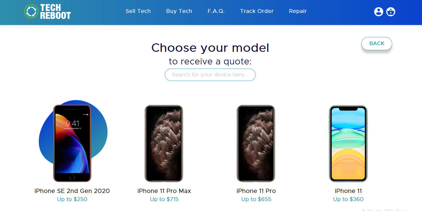 Selling Your Broken Phone - Choose the model of your smartphone.