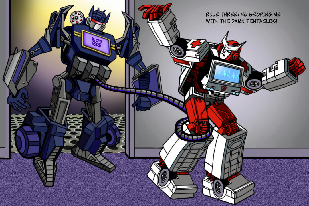 Ratchet caught by one of Soundwave's tentacles