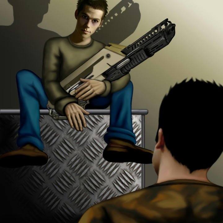 Thin, haunted Stiles on a high cupboard clutching a giant pulse rifle, Derek looking up at him