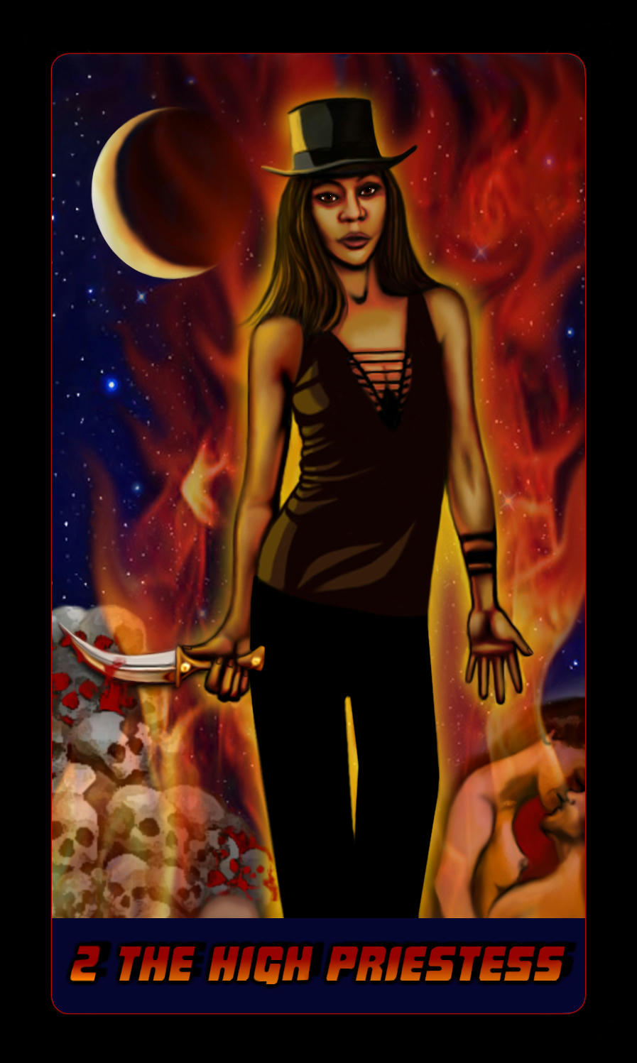 Aisha as the High Priestess - knife, fire, skulls, sex, top hat, moon