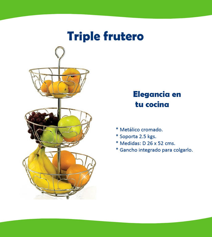 Triple frutero betterware para mesa o colgado for Mesa cocina frutero