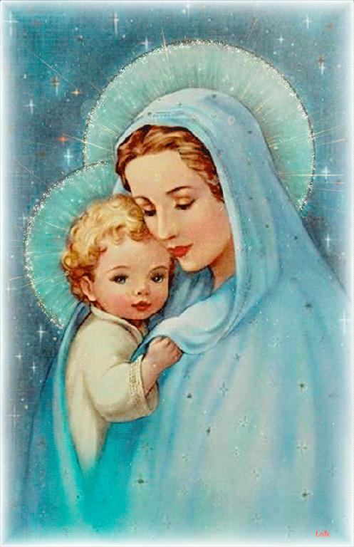 Virgen Maria celeste animada con Niño Jesus