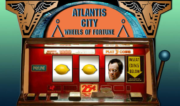 Old slot machine, Rodney's scared face and two lemons in it.