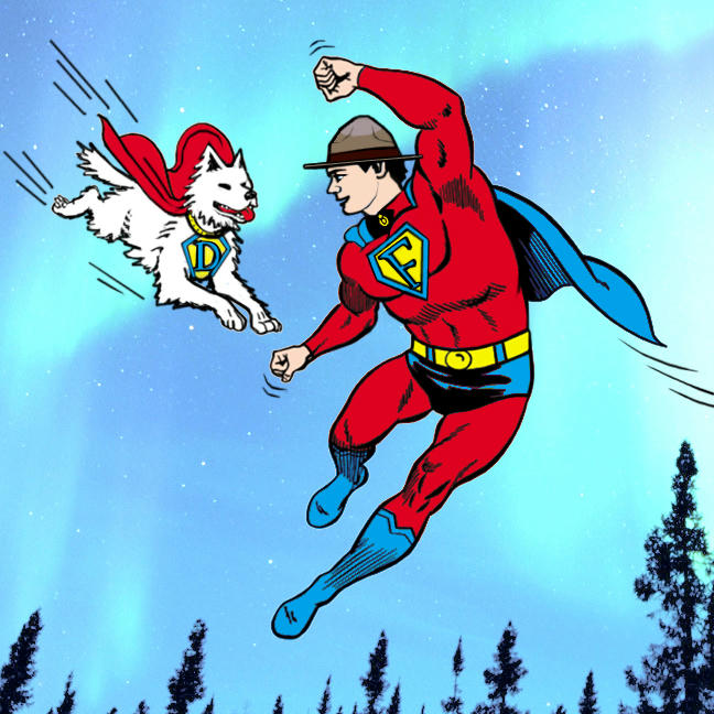 Fraser flying in superman costume with flying Dief, arctic sky.