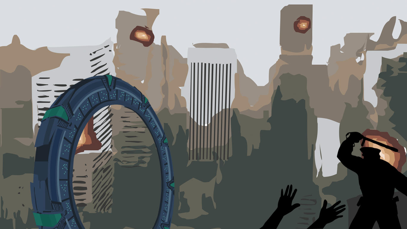 Cutout digital art of a city, stargate at left, raised arms being beaten by a uniformed man at right.