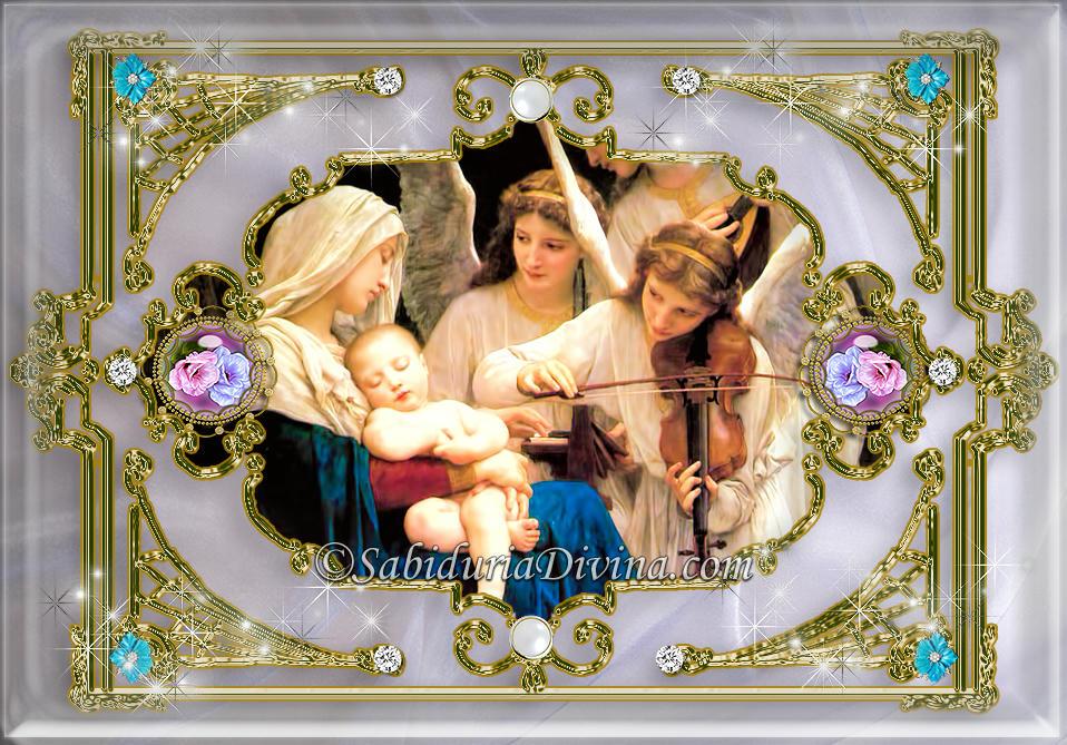 Virgen Maria con el Niño Jesus y Angeles
