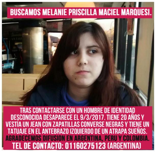Angustiosa búsqueda de Melanie Priscilla Maciel Marquesi, temen que sea trata
