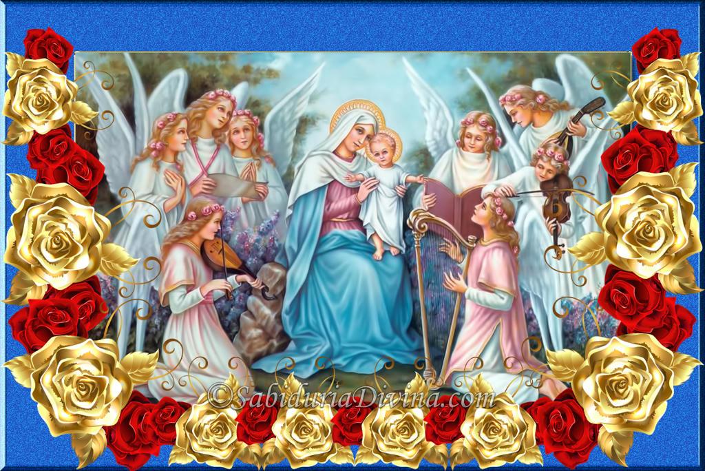 Virgen Maria con el Niño Jesus entre angeles