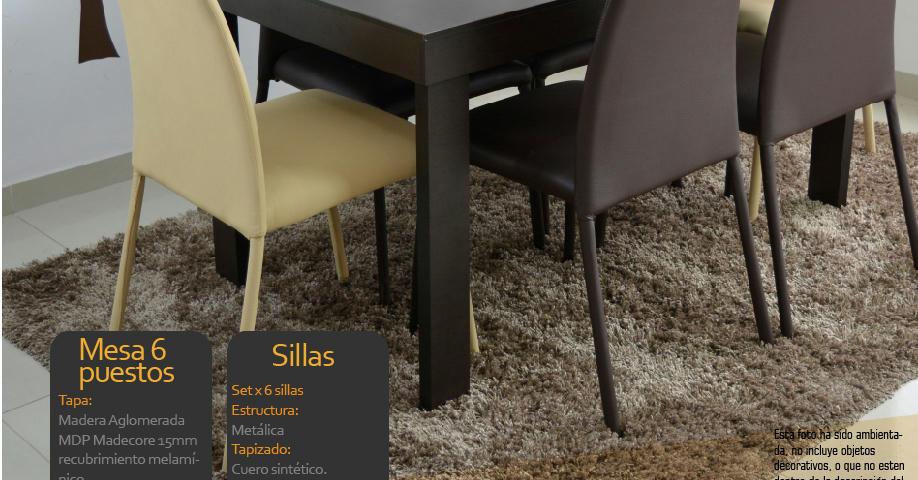 Comedor napoli 6 sillas y mesa super oferta 599900 tblsm for Comedor 6 sillas precio