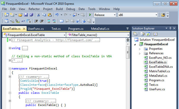 Visual Studio Project - Finaquant in Excel