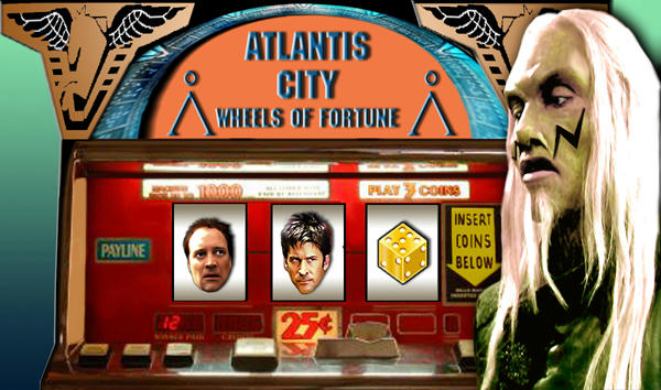 Old slot machine, Rodney looking scared, John glaring up at a Wraith outside the machine.