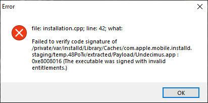 cydia impactor installation.cpp42 error-2