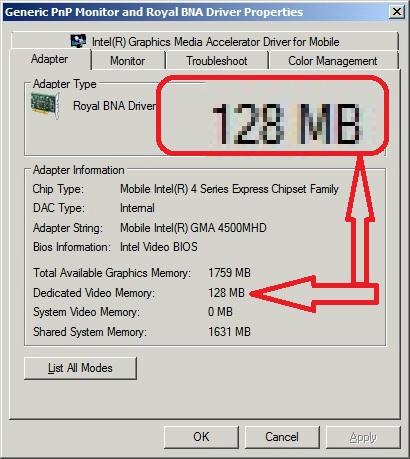 GMA4500MHD - Royal BNA - Increased Dedicated to 512MB? - TeknoGods com