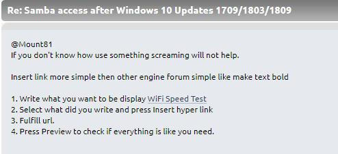Samba access after Windows 10 Updates 1709/1803/1809