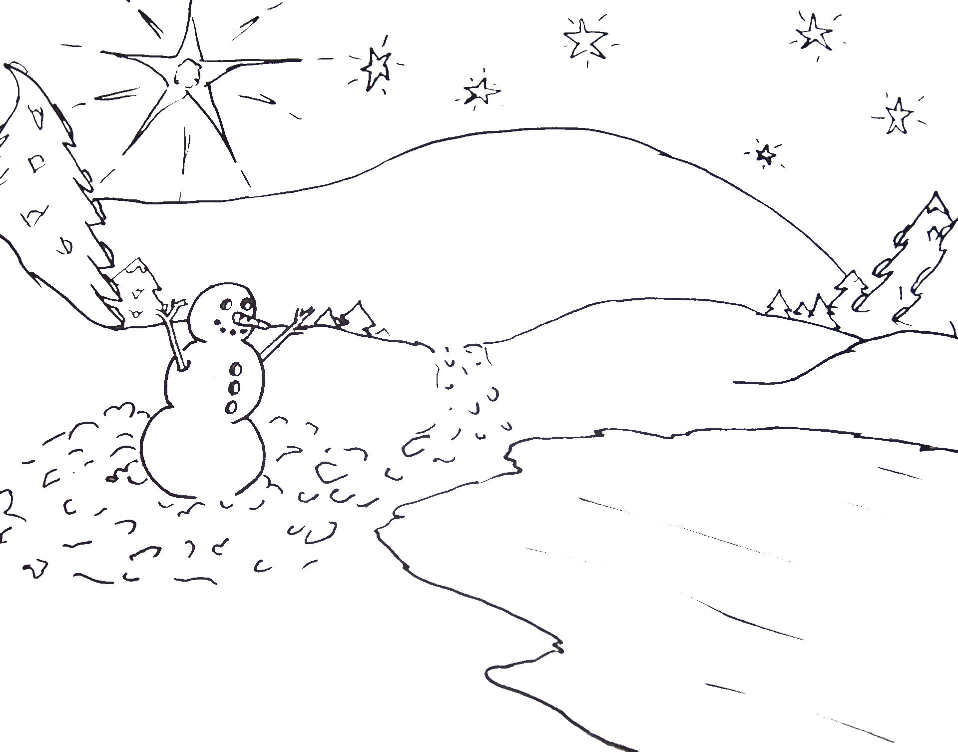 coloring pages winter scene - photo#32