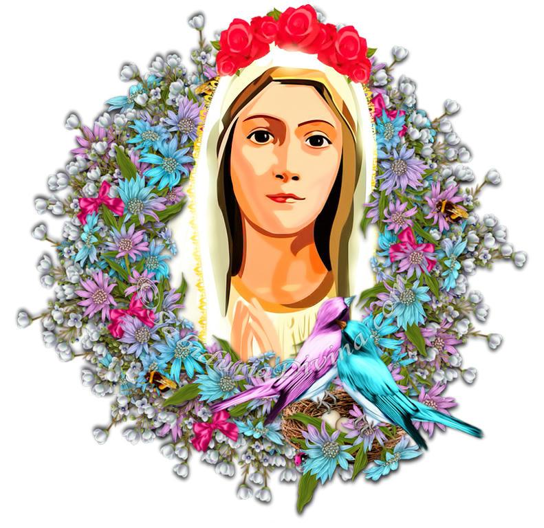 Virgen de Fatima con flores