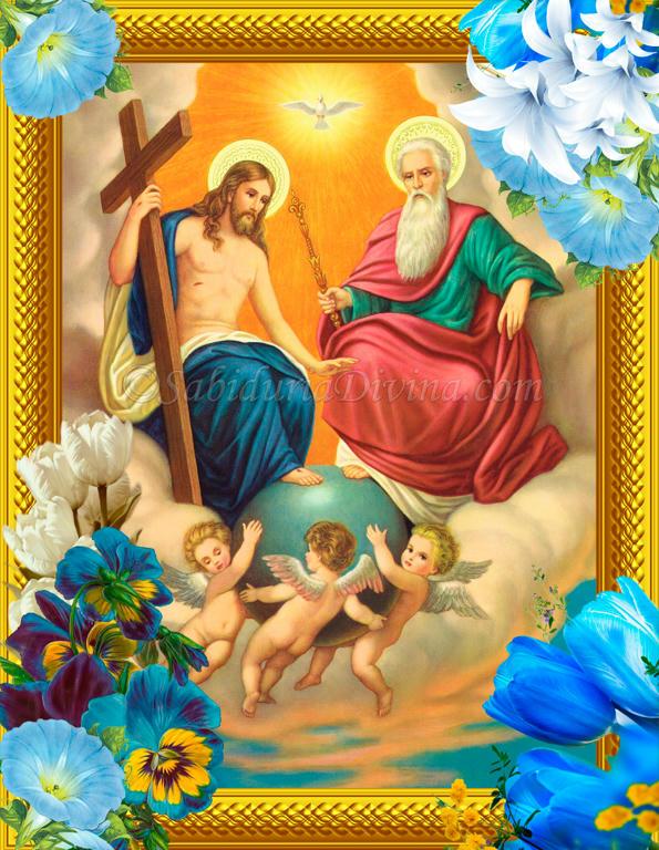 La Santisima Trinidad con la tierra en sus pies, entre nubes y angeles
