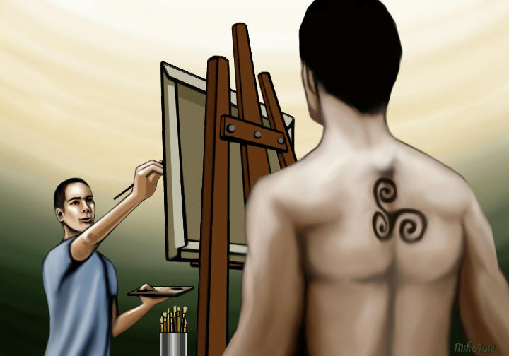 Stiles painting at easel - in foreground, Derek's naked torso with tattoo, his back to us.