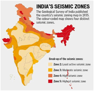 Major portion of India prone to earthquake daily current affairs 27