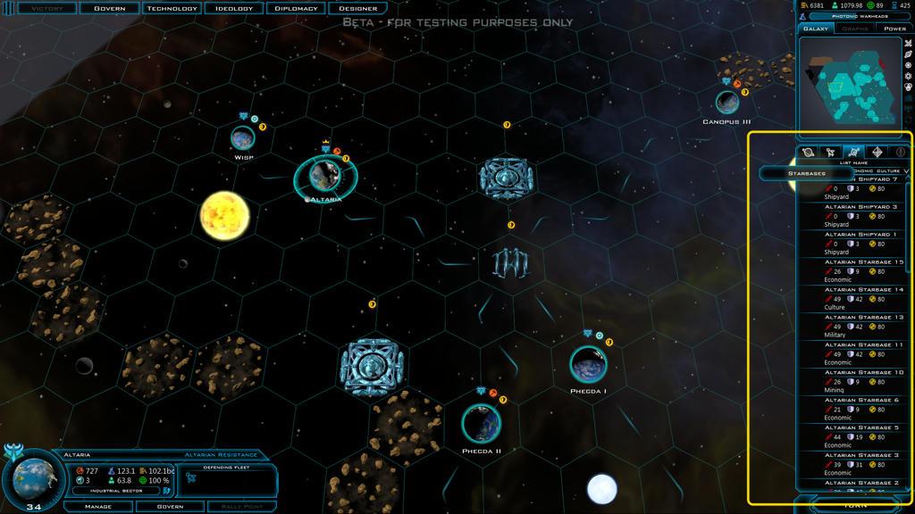 Starbases list