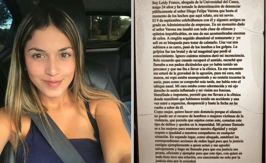 Indignación en Redes Sociales por golpiza a abogada Leidy Franco