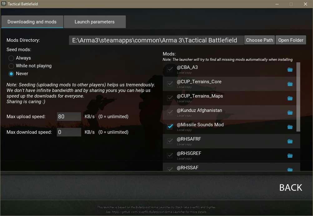 Optional addon example screenshot in TacBF Launcher