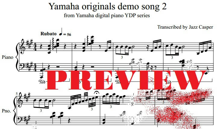 Yamaha demo song sheet music transcription