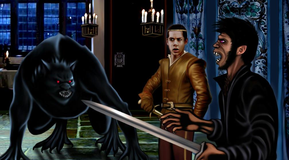 fight scene  - Derek vz monstrous wolfy Peter, Stiles looking on, mouth open.