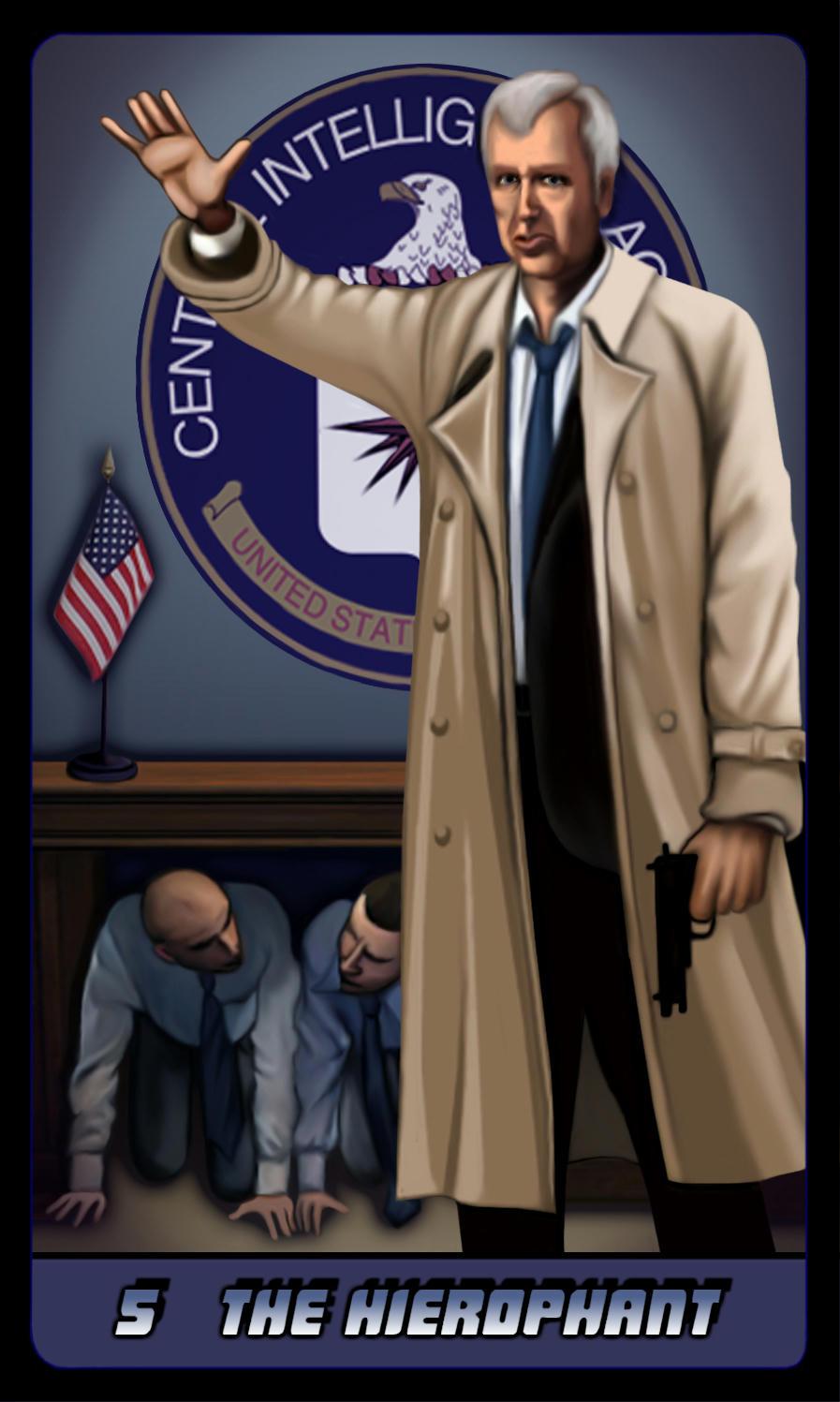 Stegler in CIA HQ, logo behind him, minions cowering under desk