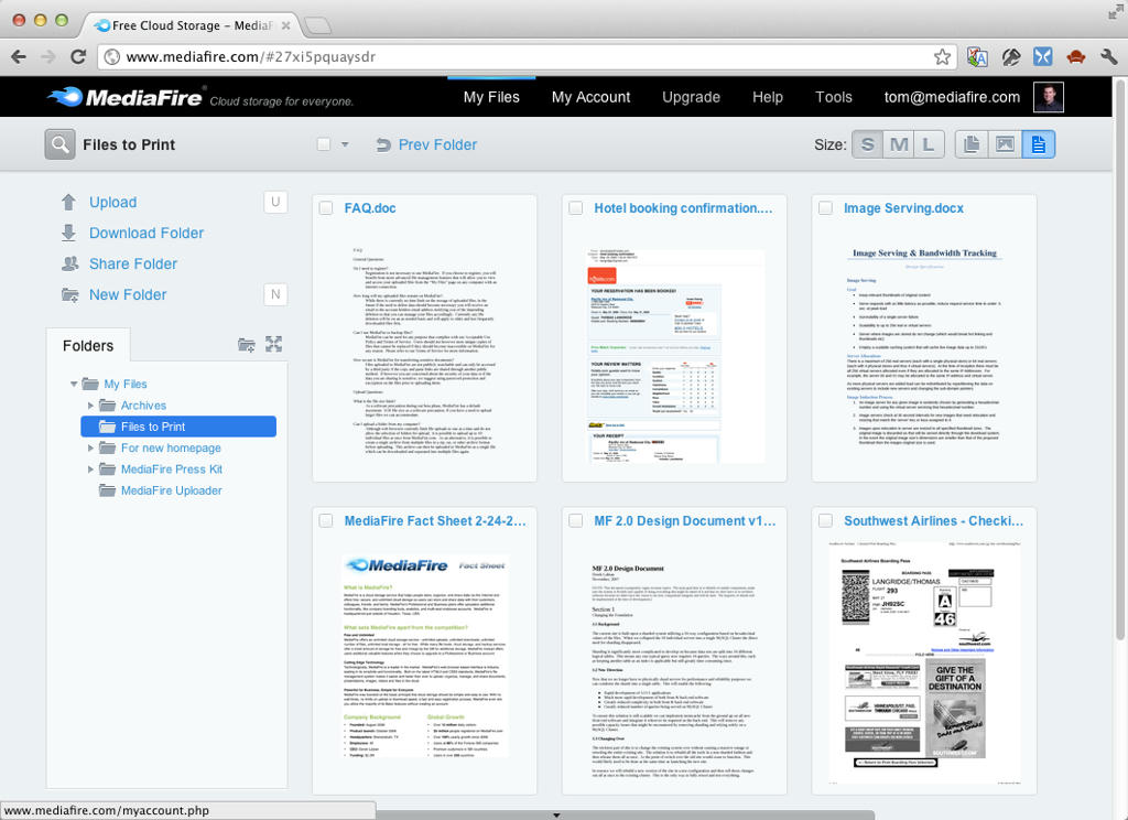 New document view on My Files page - MediaFire Blog