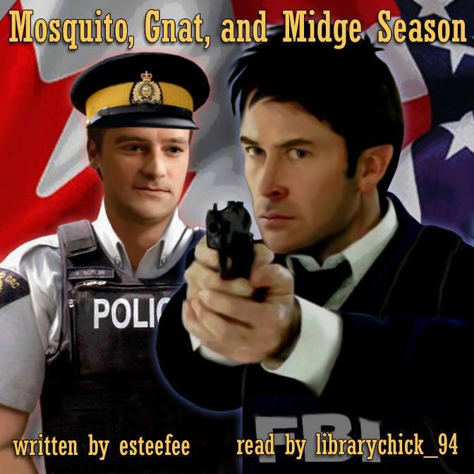 Rodney in modern Mountie uniform behind, looking at John who's in a suit and FBI tac-vest, pointing a gun.