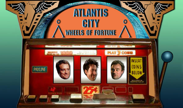 Old slot machine, John flanked by two Rodneys, all happy - John grinning.