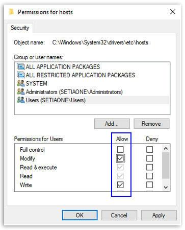 Menambah hak akses user pada Windows Host