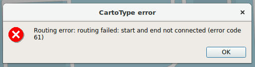CartoType - Route Not Found