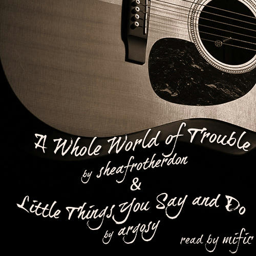 Sepia cover with guitar, curved text.