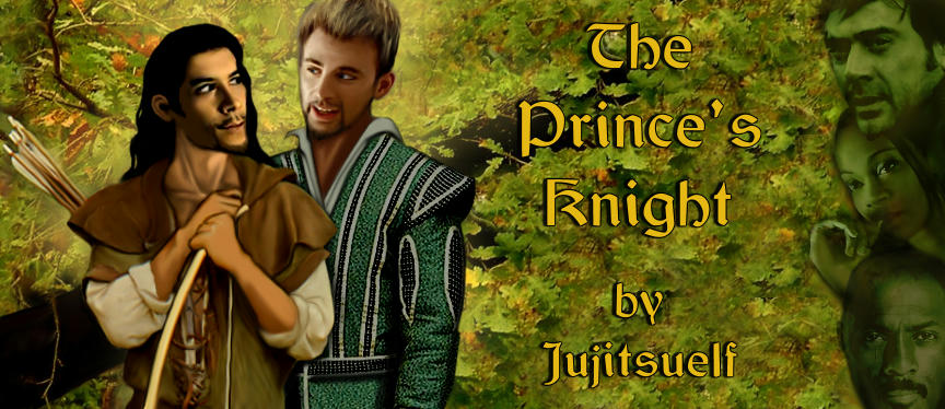 banner for jujitsielf's story - Cougar and Jake in an oak wood, the fae (Clay, Aisha and Roque) in green down right side